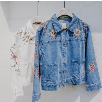Embroidered Denim Jacket female flower embroidery ladies denim jacket