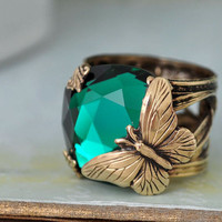 BUTTERFLY IN MOTION Neo Victorian vintage style brass ring with butterfly and Swarovski Emerald green glass cab