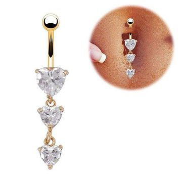 ac PEAPO2Q New Piercing Medical Steel Hypoallergenic Korean Gold Color With Hearts Heart Navel Belly Button Rings can dropshiping
