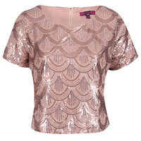 Angela SCALLOP SEQUIN CROP TOP ROSE GOLD