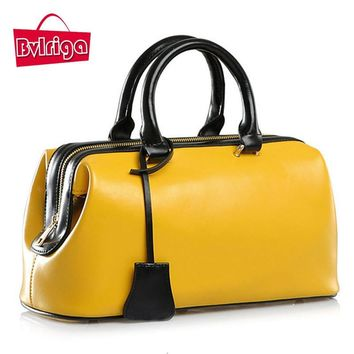 BVLRIGA Genuine leather bag doctor bag famous brands women leather handbags luxury handbags women bags designer tote bag bolsas