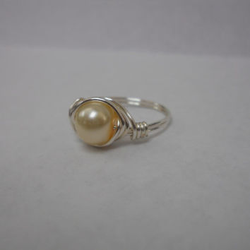 Silver Plated Wire Wrapped Faux Pale Yellow Pearl Ring, Custom Ring, Wire Wrapped Ring, Wire Ring, pearl ring