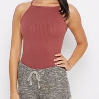 Pale Purple Ribbed High Neck Cami | Casual Tank Tops | rue21
