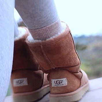 UGG Short boots antiskid warm lazy sheep fur simple ugg boots canister boots Chestnut