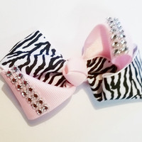 Animal Print Hair Bow / pink zebra diamond bow / pink and black rhinestone hair bow / rhinestone hair bow / gift for girl