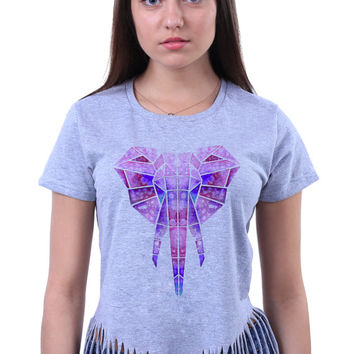 Geometric Watercolor Elephant Head Print Tribal Animal Crop Top Fringe T-shirt