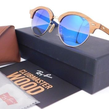 Ray Ban CLUBROUND WOOD RB4246M 11807Q Wood:Gold frame with Blue Gradient lenses
