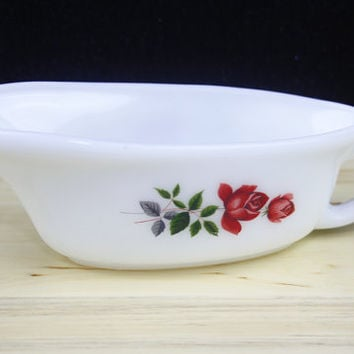 Gravy Boat, Gravy Jug, Pyrex Glass, JAJ Pyrex June Rose Pattern, Red Rose, Dinner Table, Tableware, Milk Glass, Kitchen Accessory - 1960's
