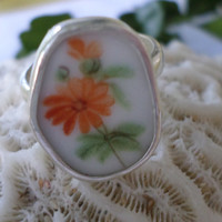Broken China Ring Chaney Ring  Sterling Silver Ring  Orange Flower Ring  Any Size 100% Handcrafted