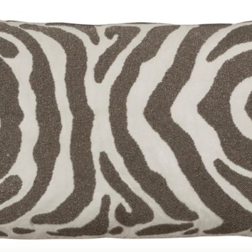 Zebra Ivory and Pewter Large Rectangle Pillow by Lili Alessandra
