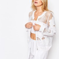 Seafolly Hope Springs Lace Beach Bomber Jacket