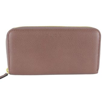 Gucci Women's Pink Tan Leather Zip Around Wallet 363423