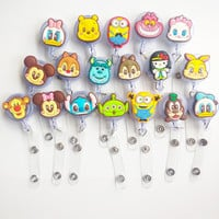 18PCS/lot New Arrival Card Badge Holder Retractable Pull Cartoon Badge Reel ID Tag Clip 18 pattern