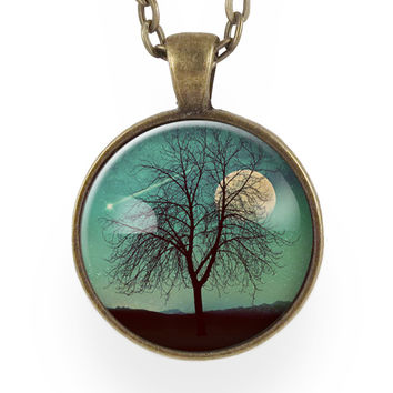 Tree And Shooting Star With Moon Necklace, On Teal Blue
