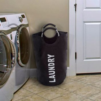 Black Large Collapsible Canvas Laundry Hamper