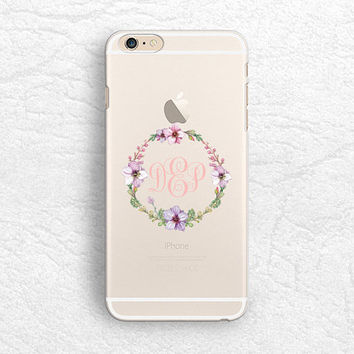 Floral Wreath matte transparent Monogram phone case for iPhone 6/6s, Sony z3 z4, HTC one M9 M8, LG g3 g4, Samsung S6 soft clear case -T12