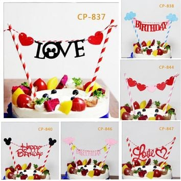 1 set Mickey Minnie Mouse Cupcake Cake Topper Cartoon Animal Cake Flags With Paper Straw Kids Birthday Party Baking Accessories
