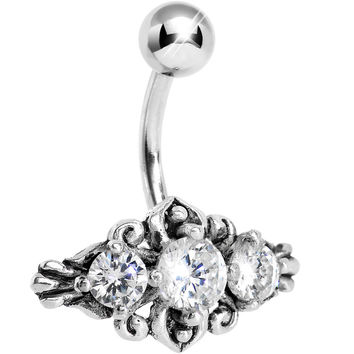 Silver 925 Crystalline Gem Silver Curlicue Belly Ring