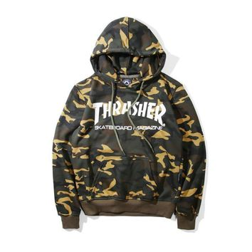 Fashion THRASHER Camoflage Hooded Sweatshirt Christmas Gift