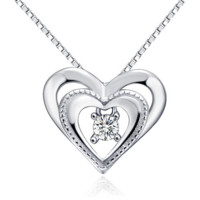 Dual heart braid sterling silver necklace assort germ stone
