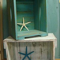 Crate Stacking Side Table Box Seat Bookshelf Storage Beach House Nautical Style