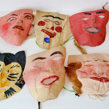 Vintage Cloth Halloween Masks Painted Fabric Gauze Muslin Lot of 6 Six Creepy Scary Spooky Clown Cat Devil 1930's 1940's