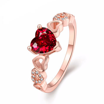 Women's Romantic Red CZ Diamond Gold Ruby Heart Ring