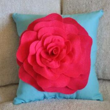 Hot Pink on Robins Egg Blue Pillow by bedbuggs on Etsy
