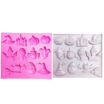 M0482 Hot Selling Halloween Pumpkin witch hat castle Bat broom Silicone Mold Fondant DIY cake Decorating Tools