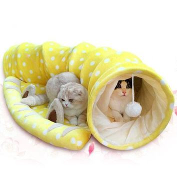 Soft Plush Kitty Cat Collapsible Tunnel Play Center