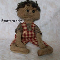 primitive doll pattern, epattern, doll pattern, white doll pattern, OOAK personally designed, Charlie - 318