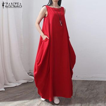 ZANZEA 5 Colors 2017 Womens Cotton+Linen Summer Dress Casual Loose Long Maxi Baggy Dresses Elegant Vestidos Plus Size S-5XL