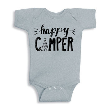 Happy Camper Baby Onesuit, Camping Baby Onesuit, Adventure Baby Onesuit, Baby Shower Gift, Outdoors Baby Onesuit, Hipster Baby, Trendy Baby