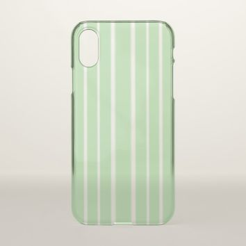 Pale Green and White Stripes iPhone X Case