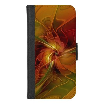 Abstract Red Orange Brown Green Fractal Art Flower iPhone 8/7 Wallet Case