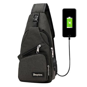 Sports gym bag Aelicy Usb Canvas Chest Bags Unisex Boston Bag Fashion Men's Polyester Sling Bag Chest Pack Crossbody Bag with USB Charging 0926 KO_5_1