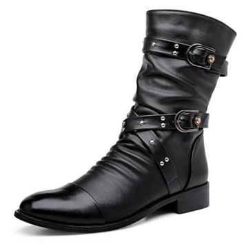 Gothic Pike Punk Rock Buckled Combat Men's Boots