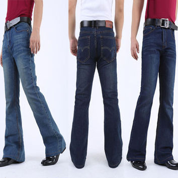 Mens Flared Jeans Boot Cut Leg Flared Slim Fit Mid Waist Classic Denim Jeans Pants Bell Bottom Jeans casual elastic Denim Pants