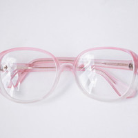 Translucent Pink Glasses / Soviet Vintage Delicate Reading Glasses / 1980's Magnifying Oversized Round Retro Eyewear / Baby Pink Frames