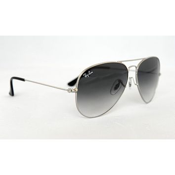 NEW Ray Ban Sunglasses Aviator RB 3025 003/32 Silver Frame Grey Gradient Lens 58