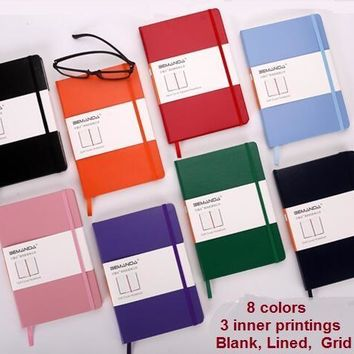 A5 horizontal grid blank moleskin notebook stationery notepad binder diary journal agenda book elastic band school office