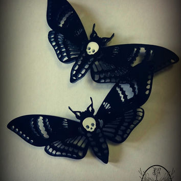 Deaths Head Moth Hair Clips. Single or pair.