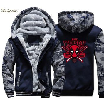 Deadpool Dead pool Taco  Wade Wilson Hoodie Super Hero Funny Print Men Sweatshirt Coat 2018 New Winter Warm Fleece Thick Zipper  Jacket AT_70_6
