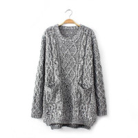 Womens Loose Comfortable Knit Pullover Gray Sweater with Pockets