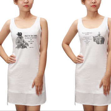 Pencil Drawing & Quotes Print Fit Sporty Tank Tunic Hi-low Dress WDS_13