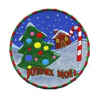 "Embroidered Iron On Patch - Merry Christmas Joyeux Noel 3.5"" Patch"