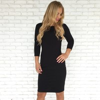 Sophisticated Little Bow Back Dress In Black