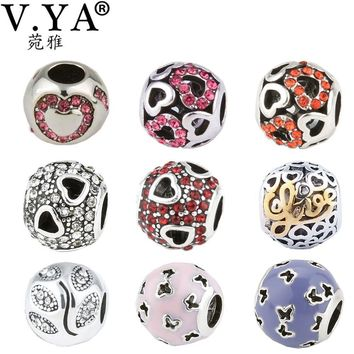 Heart Pattern Crystal Beads fit Pandora Necklaces Bracelets Romantic Charms for Lovers