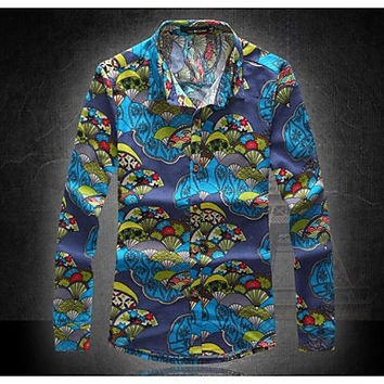 Men's Casual Slim Fit Casual Flower Long Sleeved Linen Shirts
