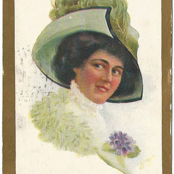 Green Hat with Ostrich Plume Beautiful Victorian Woman Brunette with Purple Pansy Posy Vintage Postcard